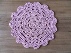 Crochet pink handmade placemat Cup Pad for coffee or by IvWings