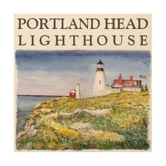 Portland Head Lighthouse Maine Watercolor Painting Wood Wall Art
