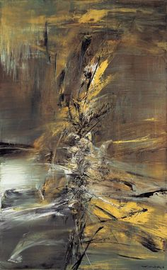 """""""ZAO Wou-ki - 19.7.63"""" 1963  Oil on canvas 75 x 114 cm Signed lower right Wou-ki in Chinese and ZAO in French Signed on the reverse ZAO Wou-ki in French and titled 19.7.63 Estimate: TWD 45,000,000 - 60,000,000 USD 1,406,300 - 1,875,000 HKD 10,714,000 - 14,286,000  Sold Price: TWD 50,880,000 HKD 12,283,921 USD 1,576,697"""