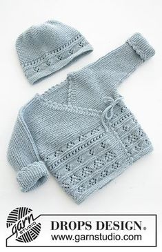 Odeta / DROPS Baby 31-3 - The set consists of: Knitted baby jacket and slippers with lace pattern and garter stitch. Sizes premature - 4 years. The set is worked in DROPS BabyMerino.