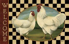 Country-Farmhouse-Folk-Art-Chicken-ROOSTER-HEN-WELCOME-Rug-Mat-Non-Skid