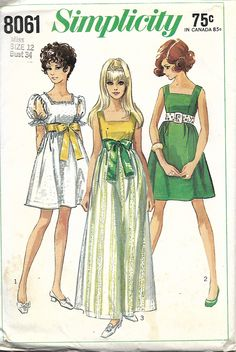 Simplicity 8061 Misses Empire Waist Dress With Square Neckline Sewing Pattern, Size 12, Bust 34, UNCUT by DawnsDesignBoutique on Etsy