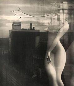 Yuuishi Kobayashi  Marble torso superimposed on the Kyoto skyline 1949