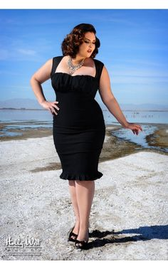 The Micheline Dress in Black with Black Chiffon Trim - Plus Size | Pinup Girl Clothing