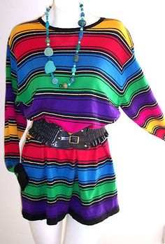VTG 80's Rainbow STRIPED Sweater Dress L EmO PUNK NEW Wave InDiE HIPSTER TUNIC