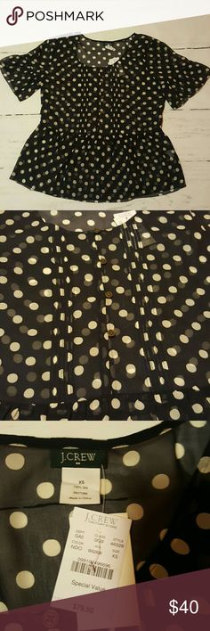 J. Crew Silk Flutter By Polka Dot Blouse NWT J. Crew Silk Flutter By Polka Dot Blouse NWT, navy, size XS, buttons half way, sheer, 100%silk Length: 23.25 inches Pit to pit: 19 inches J. Crew Factory Tops Blouses