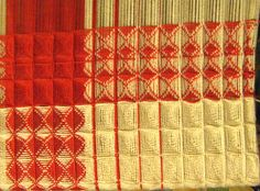 This is a sample of waffle weave (warp running vertically). It turned out easier than I thought. The threading is just a point twill on 8 s...