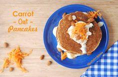 panquecas cenoura Carrot Pancakes, Nut Free, Food Inspiration, Carrots, Sweet Treats, Brunch, Gluten Free, Vegan, Cookies