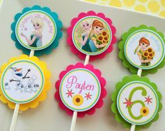 Frozen Fever Cupcake Toppers INSTANT por KidsPartyPrintables