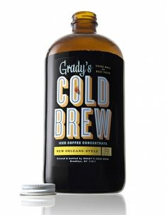 Grady's Cold Brew is a New Orleans–style coffee concentrate that's brewed and bottled by hand in Brooklyn, New York. Each batch is made by steeping a special blend of freshly roasted coffee and. Beverage Packaging, Coffee Packaging, Coffee Branding, Coffee Label, Coffee Typography, Food Packaging, Bold Typography, Vintage Typography, Packaging Ideas