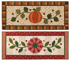 """Falling into Winter    17"""" x 41""""    Celebrate the season with a fall and winter table runner, both of which can be made using any method of applique."""