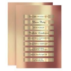 Metallic Lux Gold Foxier Stripes Pink Rose Blush 13 Cm X 18 Cm Invitation Card