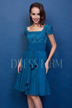 Attractive Lace A-Line Square Neckline Short-Sleeves Knee-Length Renata's Mother of the Bride Dress