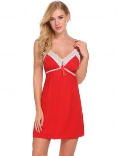 Dark red Women Sexy Lingerie #babydollchemise #chemise #lingerie #affiliate