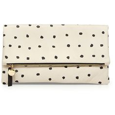 Clare V. Mini-Spot Fold-Over Clutch Bag, White/Black ($210) ❤ liked on Polyvore featuring bags, handbags, clutches, purses, accessories, bolsos, foldover purse, handbags & purses, leather hand bags and hand bags