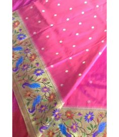 Pink flower work Handloom Paithani Saree--------Saree is the most desirable clothing among the Indian women as well as across the globe. For every auspicious occasion women prefers to look for the ethnic outfit, especially the classic saree. -----------Sarees from luxurionworld.com