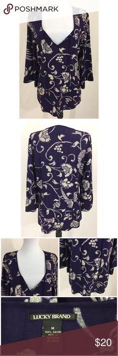 "Lucky Brand Tunic Top Lucky Brand Purple Floral Rayon Tunic Top Medium   100% Rayon  Bust: 40"" Sleeve: 19"" Length: 27"" Lucky Brand Tops Tunics"