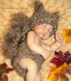Newborn Baby SQUIRREL Hat and DIAPER Cover Photo Prop - Boy - Girl - REBORN Doll - Made to order - Brown Taupe. $36.95, via Etsy.