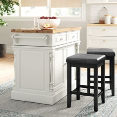 Three Posts™ Haslingden 3 Piece Kitchen Island Set with Butcher Block Top & Reviews | Wayfair Kitchen Island With Butcher Block Top, Rolling Kitchen Island, Wood Kitchen Island, Kitchen Tops, Kitchen Islands, Wood Counter, Counter Space, Stainless Steel Counters, Raised Panel Doors