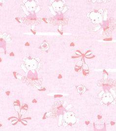 "Snuggle Flannel Fabric 42""-Teddy Ballerina"