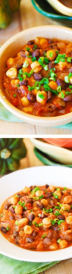 Pumpkin chili with black beans and garbanzo beans. Yummy and healthy: gluten-free, low carb, low fat, vegetarian,. Healthy, full of antioxidants