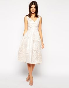 True Decadence Rose Gold Jacquard Midi Prom Dress
