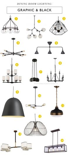 Graphic & black lighting fixtures that will make a statement in your dining room. These can work well in both a farmhouse look or more modern spaces.