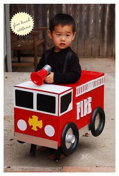 diy firetruck costume with list of supplies step by step instructions