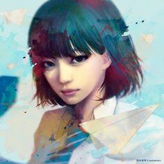 female, portrait, modern, schoolgirl, japanese, anime, semi-realistic | Makoto Tanaka by wataboku
