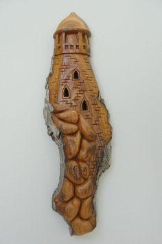 Shoreline Lighthouse in Cottonwood Bark - Wood Carving / Hand Carved