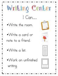 "Ricca's Kindergarten: Literacy Center ""I Can"" Cards {Freebie}Mrs. Ricca's Kindergarten: Literacy Center ""I Can"" Cards {Freebie} Writing Center Kindergarten, Literacy Work Stations, Writing Station, 1st Grade Writing, Work On Writing, Writing Workshop, Teaching Kindergarten, Teaching Writing, Writing Activities"