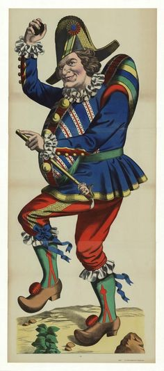 """Weissenborg Jester. Category: 18-19th Century Prints > Dance, Circus, and Theater Publisher: Published by C. Burckardt's. Deponirt """"Druck u.Verlag v. C. Burckardt's Nachf. in Weissenburg (Elsass.) Medium Used: Color Lithograph, Year: undated, circa 1880."""