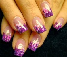 Trendy Purple Nail Art Designs You Have to See Gel Nail Art Designs, Nail Designs Pictures, French Nail Designs, Nail Designs Spring, Cute Nail Designs, Nails Design, Nails Pictures, Blue Pictures, Floral Designs