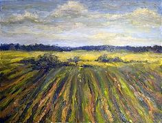 Summer field - oil on canvas painting