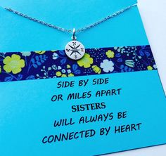 Sisters Necklace, Sterling Silber Sisters Necklace, Friends Necklace, Long Distance Gift, Sisters Gift, Sterling Silver Compass Necklace, S