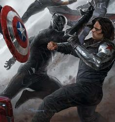 Captain America Civil War - Winter Soldier and Black Panther - Visit to grab an amazing super hero shirt now on sale!