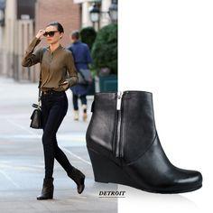 Wittner | Detroit Black Wedge Boots | Miranda Kerr Style