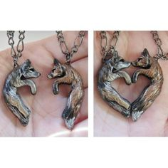 Wolf and Fox Love Necklace His and Hers Heart Kissing Couple ($37) ❤ liked on Polyvore featuring jewelry, necklaces, heart chain necklace, wolf pendant, fox pendant necklace, magnetic necklace and animal pendant necklace