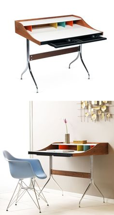This oversized and updated version of a school desk gives you all the space and organization, but none of the bulk, that a traditional desk brings. The stainless steel and solid wood structure makes this a classic yet contemporary piece of furniture that can function in your office or your bedroom.
