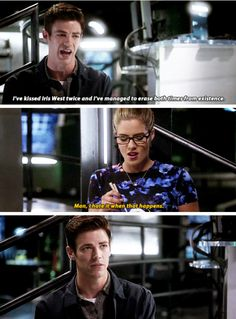 """I've kissed Iris West twice and I've managed to erase both times from existence"" - Barry and Felicity #TheFlash"