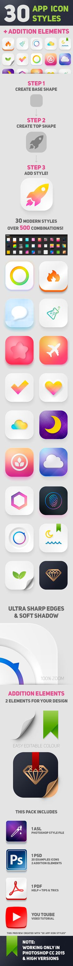 30 App Icon Styles. With these styles, you can create beautiful, modern icons. It's easy, just a few clicks! #app, #asl, #awesome, #bundle, #clean, #easy edit, #editable, #flat, #icon, #mobile app icons, #modern, #pack, #photoshop styles, #psd, #realistic, #soft, #style, #trending, #mobile, #app
