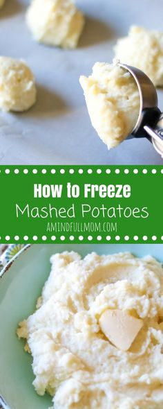 Step by step instructions on how to freeze and reheat mashed potatoes. Directions for indvidual servings or for a crowd. #freezercooking #mashedpotato #freezerfriendly #sidedish #makeaheadrecipes