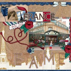Disney Scrapbook Page Layout - Epcot France Pavilion by Sharon using French Holiday Kit by Capturing Magical Memories #DisneyScrapbooking #DisneyMemories