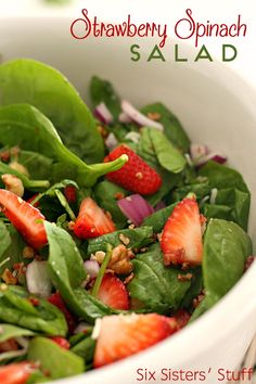 Strawberry Spinach Salad with Easy Homemade Poppyseed Dressing on SixSistersStuff.com