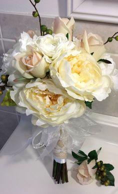 Cream White Peony Blush Pink Roses Silk by GigisFlowerFancy