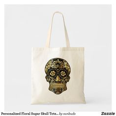 Shop Personalized Floral Sugar Skull Tote Bag created by sunbuds. Unique Gifts, Great Gifts, Best Tote Bags, White Elephant Gifts, Sugar Skull, Reusable Tote Bags, Skulls, Floral, Accessories