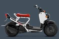 Equipped with a thrifty engine, the 2013 Honda Ruckus Scooter continues the line's reputation for great mileage at 114 MPG. Honda Ruckus, Electric Motor Scooters, Scooter Motorcycle, Gas Scooter, Scooter Parts, T Max, 2013 Honda, Bike Design, Motorcycle Design