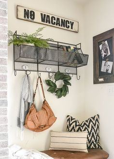The easiest way to make an affordable farmhouse inspired sign without using fancy cutting machines! #farmhouse #farmhousedecor #novacancy #DIYsigns #farmhousesigns Diy Hanging Shelves, Diy Wall Shelves, Farmhouse Signs, Farmhouse Decor, Farmhouse Style, Chalk Paint Mason Jars, Diy Blanket Ladder, Diy Signs, Wood Signs