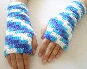 Gloves, Fingerless Blue and White hand crochet gloves, new trends Crochet Gloves, Blue Dream, Unique Gifts, Handmade Gifts, Sewing Box, Hand Warmers, Hand Crochet, New Trends, Fingerless Gloves