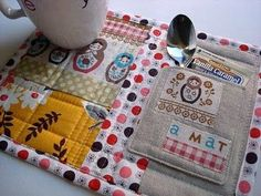 Mug Rug Pattern with UFO Quilt Blocks {52 UFO Quilt Block Pick Up} Cute Idea for people that work at home
